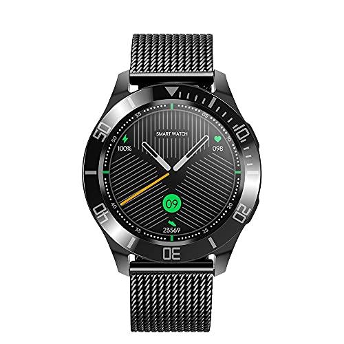 Reloj inteligente HanYuMaoYi con Bluetooth para monitoreo de la salud, recordatorio inteligente, modo multideportivo, correa de malla de acero, color negro