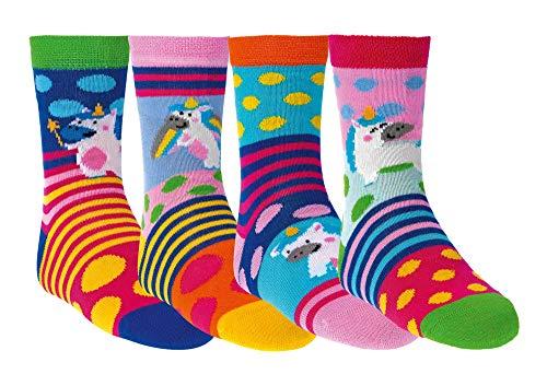 Kinder Öko Socken 6 Paar für Jungen/Mädchen,Schadstoffgeprüft, in vielen Mustern (Gute Laune Einhorn, 23-26)