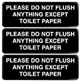 Please Do Not Flush Paper Towels or Femine Products in Toilet Sign: Easy to Mount Informative Plastic Sign with Symbols 9'x3', Pack of 3 (Black)