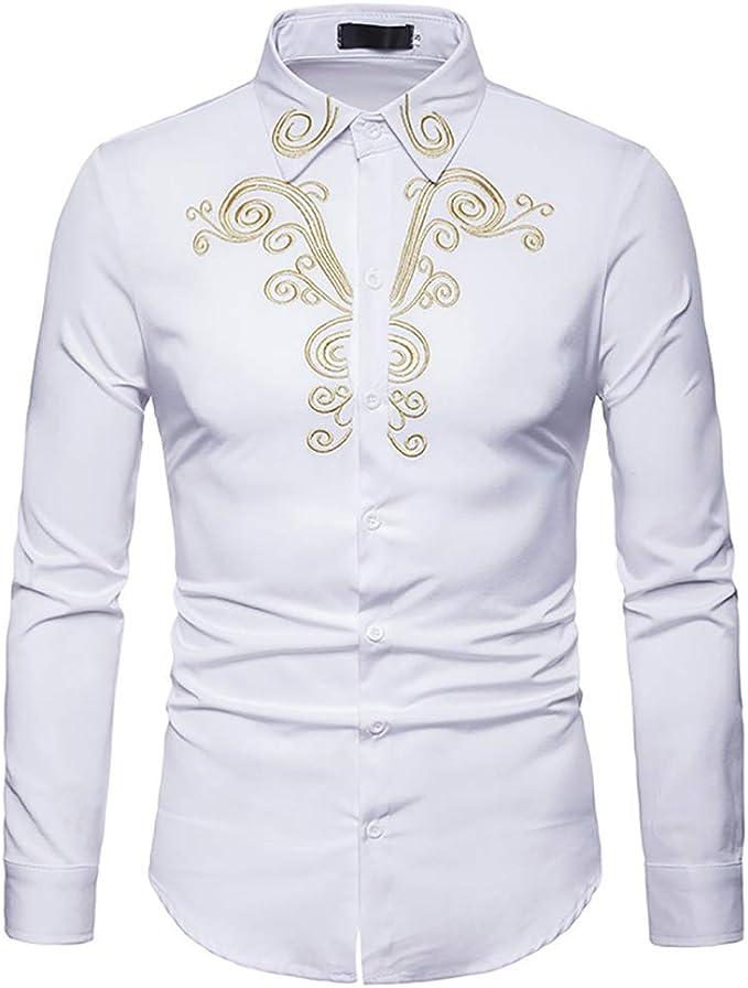 Hombres Camisa De Manga Larga Bordada Casual Slim Fit Vintage Formal Western Cowboy Camisa De Vestir Top