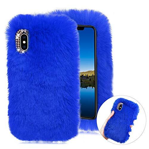 CESTOR Weich Flauschige Silikon Plüsch Hülle für Samsung Galaxy A20E,Niedlich Winter Warm Pelzig Faux Pelz Glitzer Diamant Schützend Stoßfest Hülle mit 3D Kristall,Blau