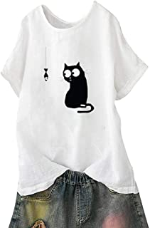 Women's Casual Solid Cat Print Loose Short Sleeve Beach Vintage T Shirt Ladies Funny Tops Tee Shirts
