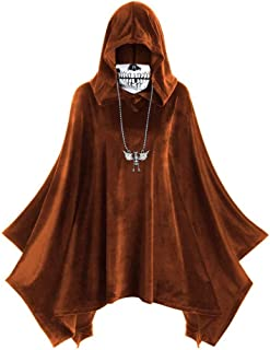 HebeTop Women's Hooded Tops Cape Coat Halloween Skull Mask Print Dress