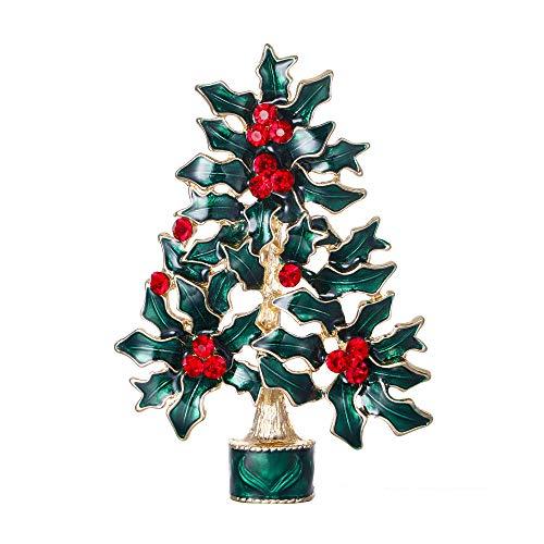 EVER FAITH Festive Verde Albero di Natale Agrifoglio Spilla Austriaco di Cristallo Gold-Tone N04537-2
