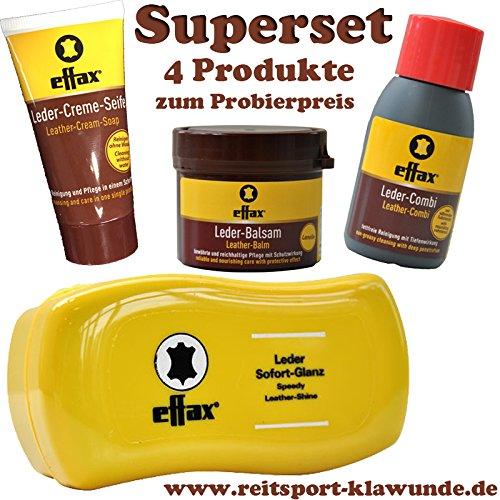 Effax 4 Set Pflegemittel - Leder-Creme-Seife, Leder-Combi, Leder-Balsam, Leder-soft-Glanz Schwamm