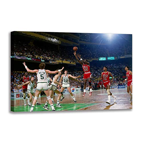Canvas Art Michael Jordan and Celtics Painting Wall Picture for Living Room Poster Print Decorative Fan Gift (40x60 cm(Framed)) image