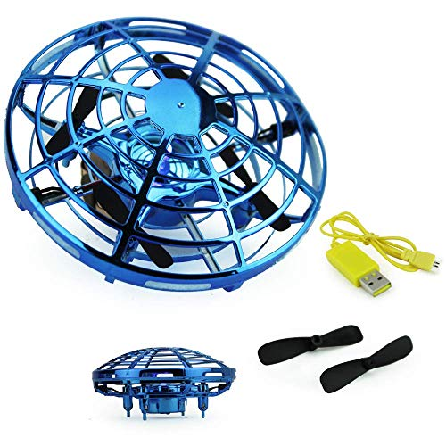 Boley Mini Drone UFO Flying Aircraft Toy, Blue - Small Drones Perfect for Indoor, Outdoor Play - Cool Hand Controlled Drone for Kids and Adults - Rechargeable Batteries and Extra Propellers Included