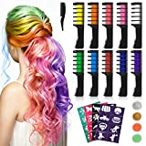 Hair Chalk Combs, Kastiny 10 Colour Temporary Hair Dye for Girls, 100% Non Toxic Washable Hair Colour Pens DIY Gift Kids Birthday Party, with 32 Tattoo Stencils 4 Glitter