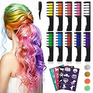 Tizas Para el Pelo, Kastiny 10 Colors no Tóxico Temporales de Cabello Tinte, con 32 plantillas de tatuajes &4 brillos Peines de Tiza de Colores para el Pelo, Fiesta, Navidad y Performance