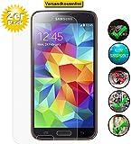 Smartphone Equipment [2er Pack] Panzerglas für Samsung Galaxy S5 Echt-Hartglas 9H, Glasfolie Schutzfolie Glas Folie Panzerfolie Display Schutz