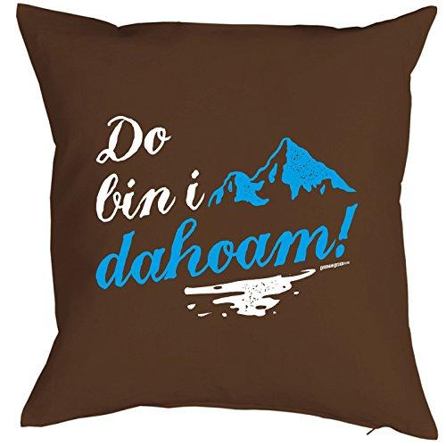 Coussin : Do suis I Dahoam. Petit présente avec motif imprimé