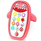 Baby Shark Cell Phone Toy with Removable Teether Case, Light up, Music & Adjustable Volume Kids Play & Learn Fake Phone for Infant & Toddler, Preschool Birthday Gift for Girl Boy 18+ Months (red)