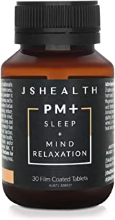 JSHealth Vitamins PM+ Sleep Aid Supplement with Ziziphus, Lavender & Magnesium - Mind Relaxation Formula (30 Tablets)