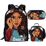 Smileygirl Rucksack für Mädchen, Afro-amerikanische Dame, mit Lunchtasche, Büchertasche, 3-teiliges Set, African 13 (Silber) - MZ-Z5101CGK-