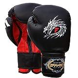 Farabi Sports Guantes de Boxeo para Entrenamiento de Artes Marciales Mixtas, Piel Estilo dragón (12 oz)