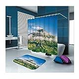 KnSam Duschvorhänge Aus Polyester Duschvorhang Und Bodenmatte Set Berg Duschvorhang Breit: 150Cm Höhe: 180Cm Grün