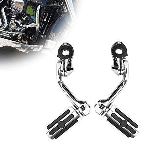 Motorcycle Footpegs Foot Rest Highway Pegs (Chrome) for Harley Road King Street Glide Honda Suzuki Yamaha Kawasaki Engine Guard
