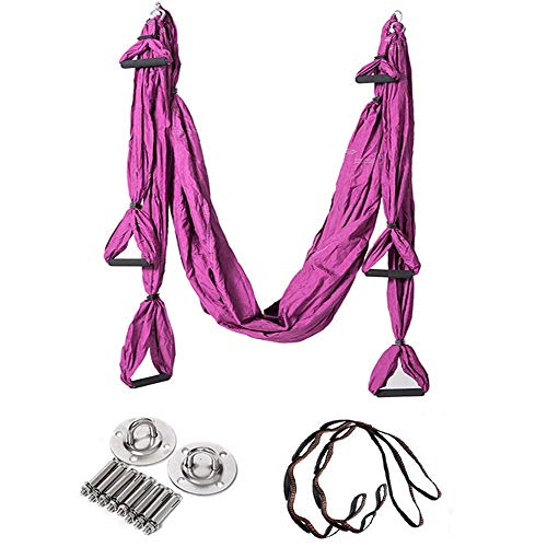 Check Out This Yoga Swing Aerial Yoga Hammock Inverted Inverted Yoga Hammock with Hanging Belt Full Set Yoga Hammock (Color : Purple, Size : 250x150cm)