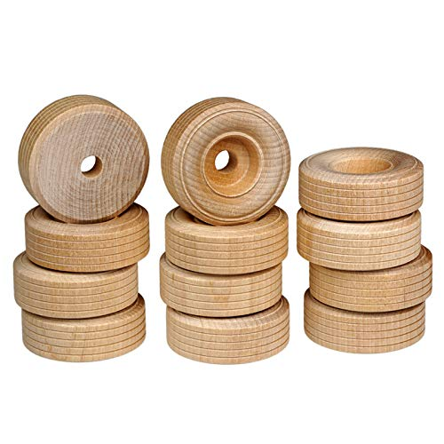 FEINSCHNITTkreativ Holzräder 51 x 19 mm (12 Stück) | Ideal für Fahrzeug- und Modellbau