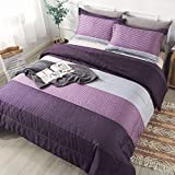 Andency Stripe Comforter Set Full Size (79x90 Inch), 3 Pieces Purple and Gray Patchwork Striped Comforter, Soft Microfiber Down Alternative Comforter Bedding Set with Corner Loops (Eggplant, Grey)