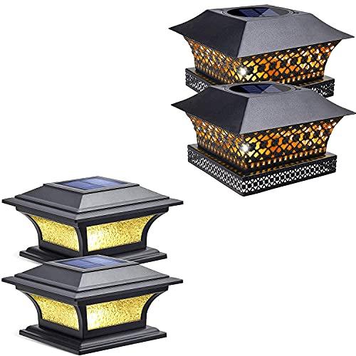 Siedinlar Metal Solar Post Lights Black (2 Pack) and Glass 2 Modes Solar Post Lights Black (2 Pack)
