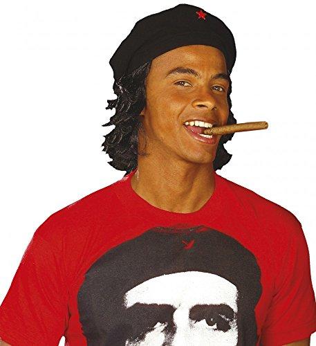 Schwarze Che Guevara Mütze mit Haaren Revolutionär Hut Perücke Kappe Barett