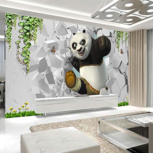 XXUEJ Wallpaper Wandgemälde Karikatur Tier Schwarz Weiß Panda Grün Pflanze Weiße Wand 3D Poster Foto Wandaufkleber Selbstklebend Umweltschutz Pvc Wand Kunst Wallpaper Foto Jungen Mäd(B 430 x H 300 cm)