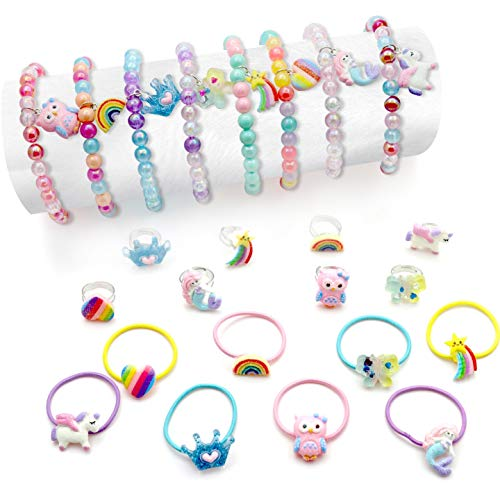 VEGCOO 24 Pieces Girls Jewellery Bracelet Rings Set, Girls Colourful Unicorn Bracelets with Children's Rainbow Rings Mermaid hair ties Birthday Gift Christmas Stocking Filler Set
