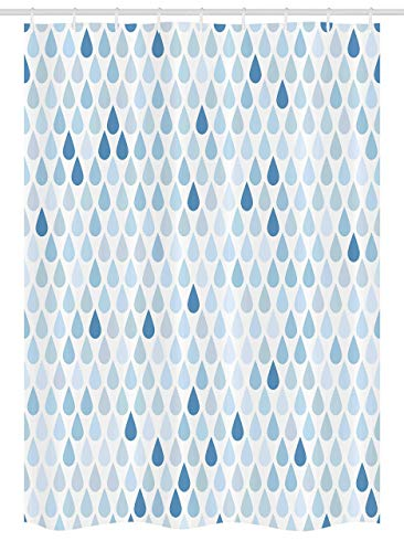 Fabric Shower Curtain Liner with Hooks Blue and White Stall Minimalist Rain Drops Motive in Tones Tears of Earth Air Gravity Image Art Light Blue Waterproof Curtains Set for Bathroom Decor 72 X 72''