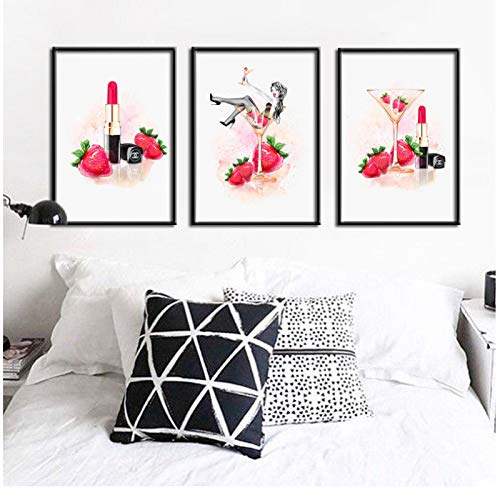 Abstract Aquarel Canvas Schilderij Champagne Lipstick Aardbei Meisje Combinatie Digitaal Gedrukt Wall Art Foto Home Decor-40x60x3Pcscm Geen Frame