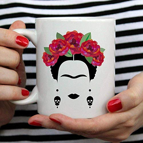 N\A aza de Arte Mexicano Frida Kahlo y Flor, Taza de café de té de cerámica Blanca, Regalo