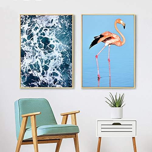 tzxdbh Flamingo Prints Spray zeegezicht Canvas Schilderijen Scandinavië Posters Pop Wall Art Picture Voor Woonkamer Home Decor-in Schilderij & Kalligrafie van Grou 30x40 cm No Frame