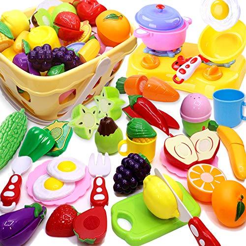 Airlab Küchenspielzeug für Kinder Geschirr Schneiden Obst Gemüse Lebensmittel, Küche Spielzeug Rollenspiel Lernspielzeug Geschenk