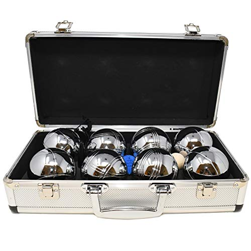 Big Game Hunters Premium 8 Kugel Boules / Petanque Set für 4 Spieler mit Rostchutz in Einer Hochwertigen Metallbox