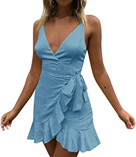 Cliramer Women's Holiday Summer Fashion Lace Loose Swing Casual V Neck Beach Party Midi Dress Blue