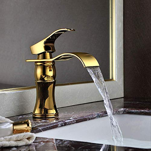 All Copper Waterfall European Oro corto,Grifo de Lavabo Cascada Grifo para Baño Monomando Grifería Cromado Plateado con de Agua Inoxidable Larga Durabilidad