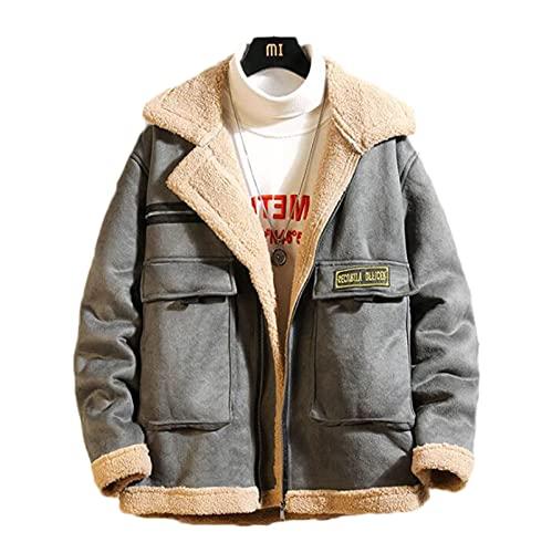 Męska kurtka zimowa jagnięcina wełna podszewka płaszcz żakiet wiatroszczelna płaszcz zagęścić ciepłe stojak parka kołnierz na dorywczo płaszcz wierzchniej (Color : Gray, Size : XXL)