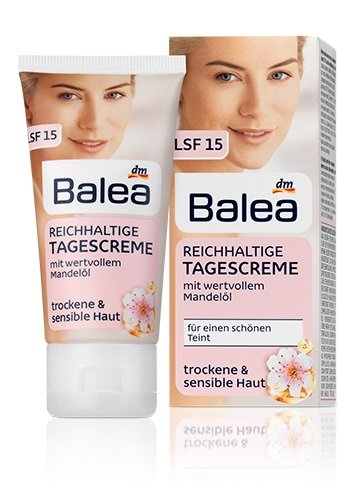 Balea Almond-Blossom Rich Day-Cream with Almond Oil for Dry & Sensitive Skin, SPF15 - No Silicones/ No PEG/ Not Tested on Animals / Vegan - 50ml by dm balea