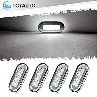 "TCTAuto White Marine Lights for Boats 3"" LED Yacht Deck Courtesy Accent Cabin Interior Lighting with Oblong Stainless Bezel IP67 Waterproof, Pack of 4"