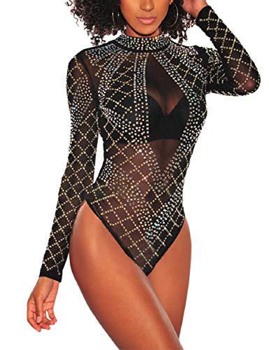 SEBOWEL Damen Sexy Strass Mesh Body Club Party Langarm Bodysuit Bluse Tops, #7 Black, S
