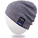 Rotibox Men Women Bluetooth Music Beanie Hat Cap Ear Warmers w/Stereo Speaker Headphones Mic Hands Free Rechargeable Battery for Outdoor Sports Skiing Snowboard Running Camping, Gray
