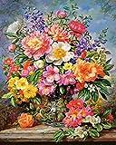 Ojmikmg Pintar por Numeros para Adultos Niños Principiantes -Pintura por Números Flor con Pinceles y Pinturas DIY Conjunto 40 x 50 cm Sin Marco