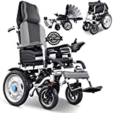 HHDQ Foldable Electric Wheelchair for Adults, Adjustable Backrest Foot Pedal Mobility Aid Power Wheelchair, Position Adjustable 360° Joystick Comfortable Shock Absorber Smart Electric Wheelchair