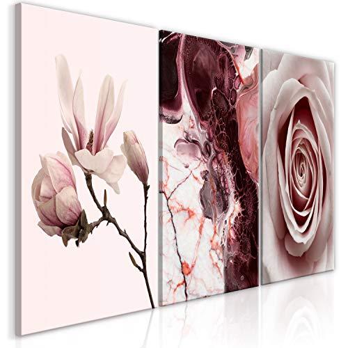 murando - Bilder Blumen Rose Magnolien 120x60 cm Vlies Leinwandbild 3 TLG Kunstdruck modern Wandbilder XXL Wanddekoration Design Wand Bild - Abstrakt b-C-0356-b-e