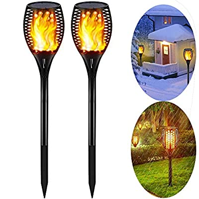 Solar Light Waterproof Flickering Flames Torches Lights 96 LED Flame Lights Flickering Torches for Outdoor security torch light Decoration for Patio Driveway Garden Landscape Path Lighting
