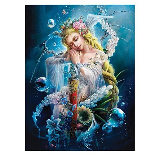 artaslf DIY Diamond Painting Fairy 5d Square Mosaic Cross Stitch Kit Flower Full Diamond Embroidery icon Packing Diamond Wall Art- 40x60cm unframed