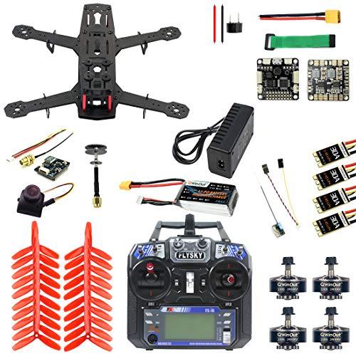 QWinOut Q250 Full Set DIY FPV Drone Camera Quadcopter 250MM Carbon Fiber Frame F3 FC Flycolor Raptor BLS Pro-30A ESC 700TVL Camera FS I6 (Full Set)