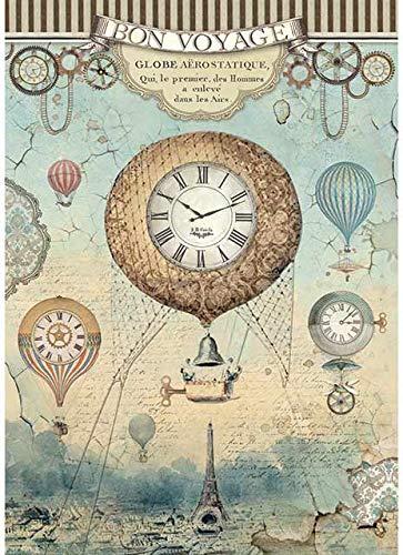 1 foglio Stamperia A4 carta di riso 21 x 29,7 cm per collage e decoupage Palloncino A4 Voyages Fantastiques