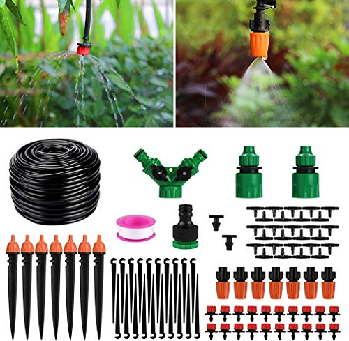 Berieselung-Kit 130ft / 40M Garten Bewässerungssystem einstellbare automatische Mikrobewässerung Kits Pflanze Bewässerungssystem Anzug für Garten/Blumenbeet/Terrasse/Rasen