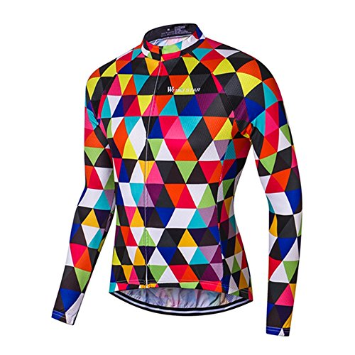 Men's Cycling Jersey Long Sleeve Jacket Funny Bike Clothing Quick Dry Breathable Colorful Diamond Size L